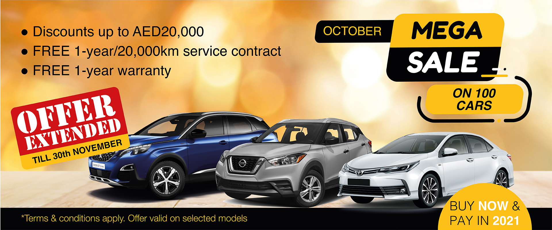 Mega Sale on 100 cars Buy Now and Pay in 2021